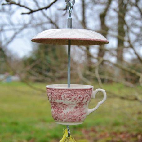 Mangeoire pour oiseaux motifs anglais rouge