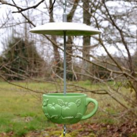 Mangeoire pour oiseaux motifs pommes vertes
