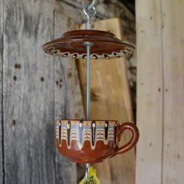 Mangeoire pour oiseaux, déco de jardin, vaisselle ancienne