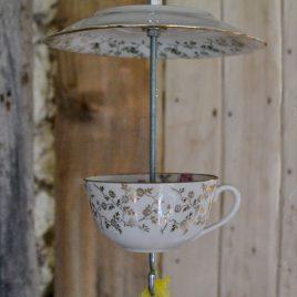 Mangeoire pour oiseaux, décoration de jardin, motifs floraux dorés