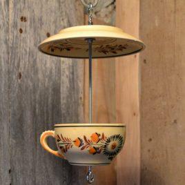 Mangeoire pour oiseaux, décoration de jardin, écrue motifs orangés