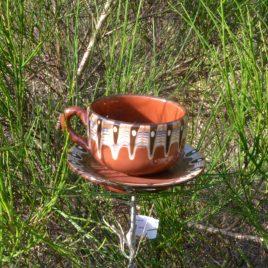 Mangeoire à planter chocolat vaisselle recyclée
