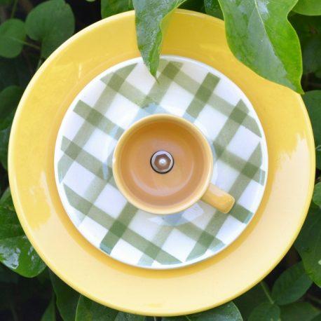 Fleur jaune et verte à carreaux
