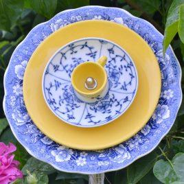 Fleur GM bleue vaisselle recyclée