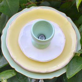 Fleur trompette vaisselle recyclée