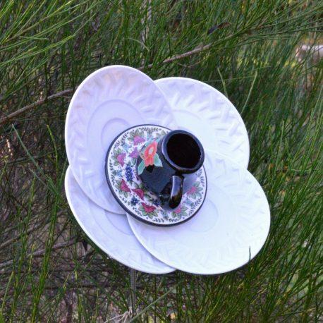 Fleur 4 pétales blanche, décoration de jardin