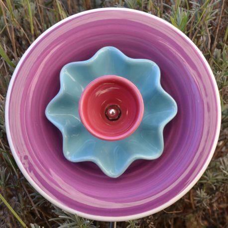 Flur pour jardinière en vaisselle recyclée