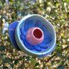 Fleur vaisselle recyclée bleue