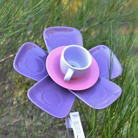 Fleur 5 pétales, vaisselle recyclée