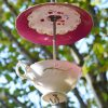 Mangeoire/abreuvoir rose fleuri tasse et soucoupe