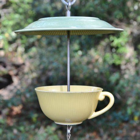 Mangeoire/abreuvoir tasse et soucoupe jaune et verte