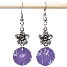 Boucles d'oreille motif pissenlits violette, fleur intermédiaire en métal