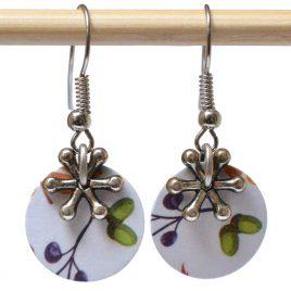 Boucles d'oreille en papier motifs rococo violet, étoile en métal