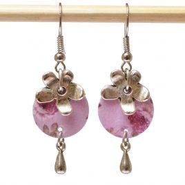Boucles d'oreille roses violettes, fleur et goutte en métal