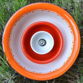 Fleur jardinière métal orange rouge