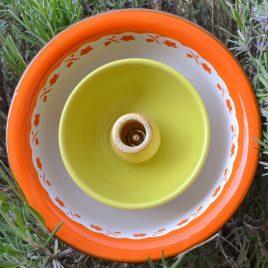 Fleur jardinière métal orange