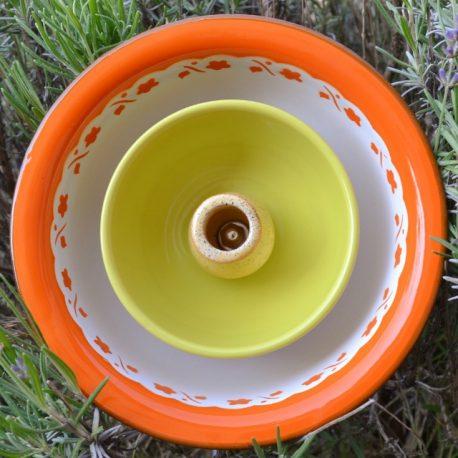 Fleur métal orange, jaune et verte (1)