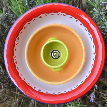 Fleur métal rouge, orange et verte (1)