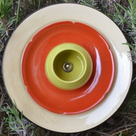 Fleur jardinière orange et verte