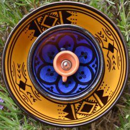 Fleur jardinière orient ocre et bleue