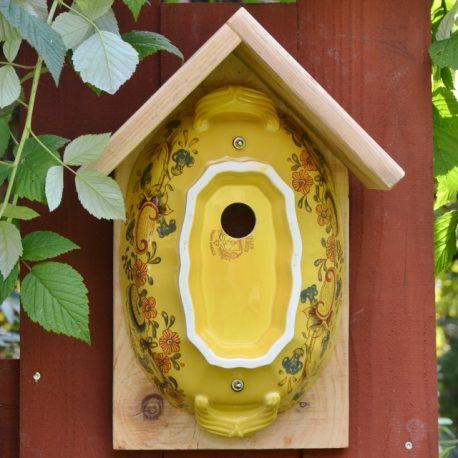 Nichoir soupière, oiseaux, décoration de jardin